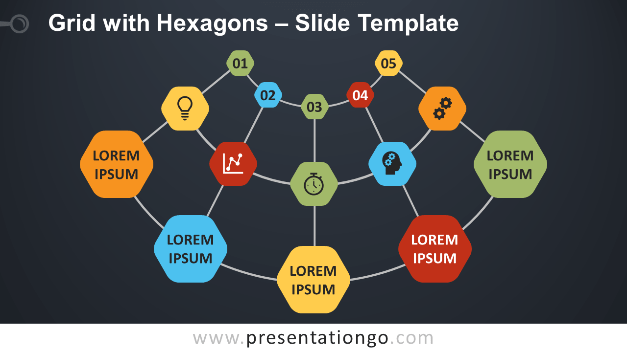 Free Grid with Hexagons Diagram for PowerPoint and Google Slides