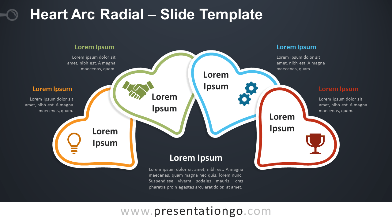 Free Heart Arc Radial Diagram for PowerPoint and Google Slides