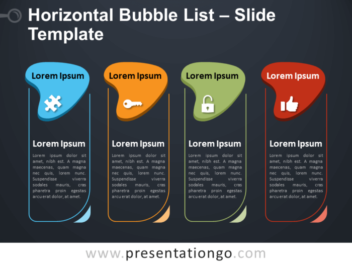 Free Horizontal Bubble List Table for PowerPoint