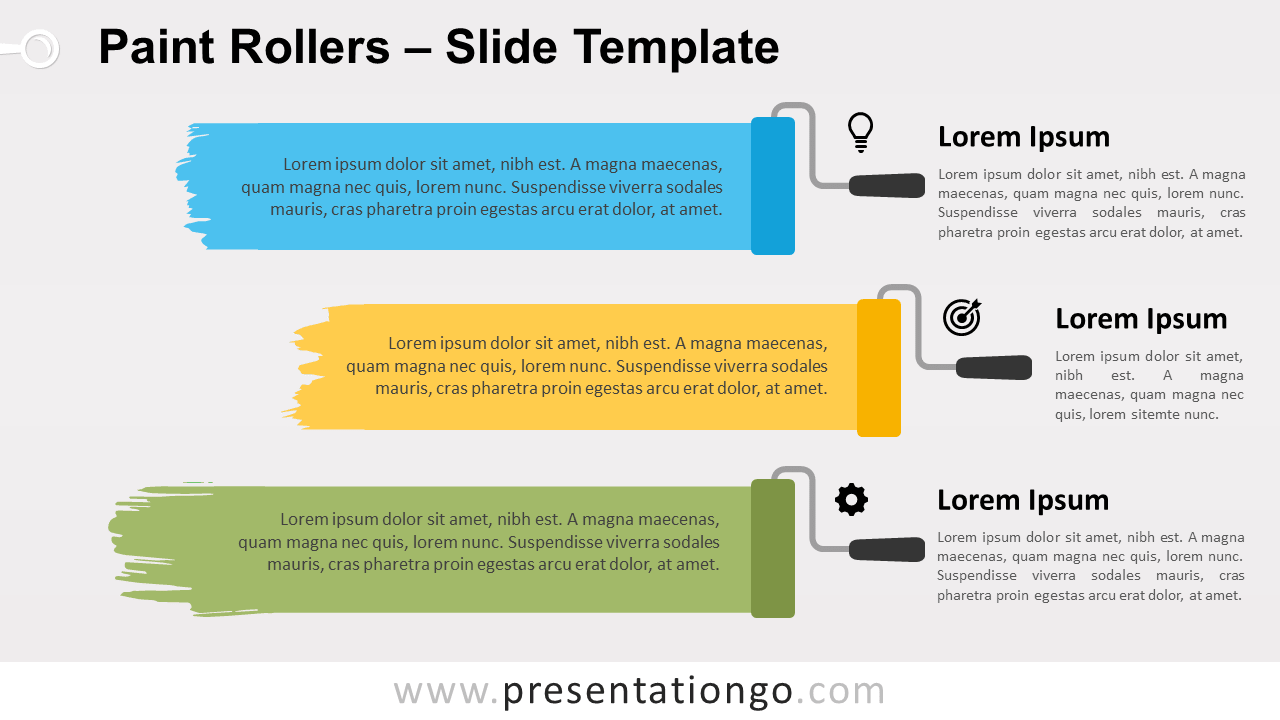 Free Paint Rollers Infographic for PowerPoint and Google Slides