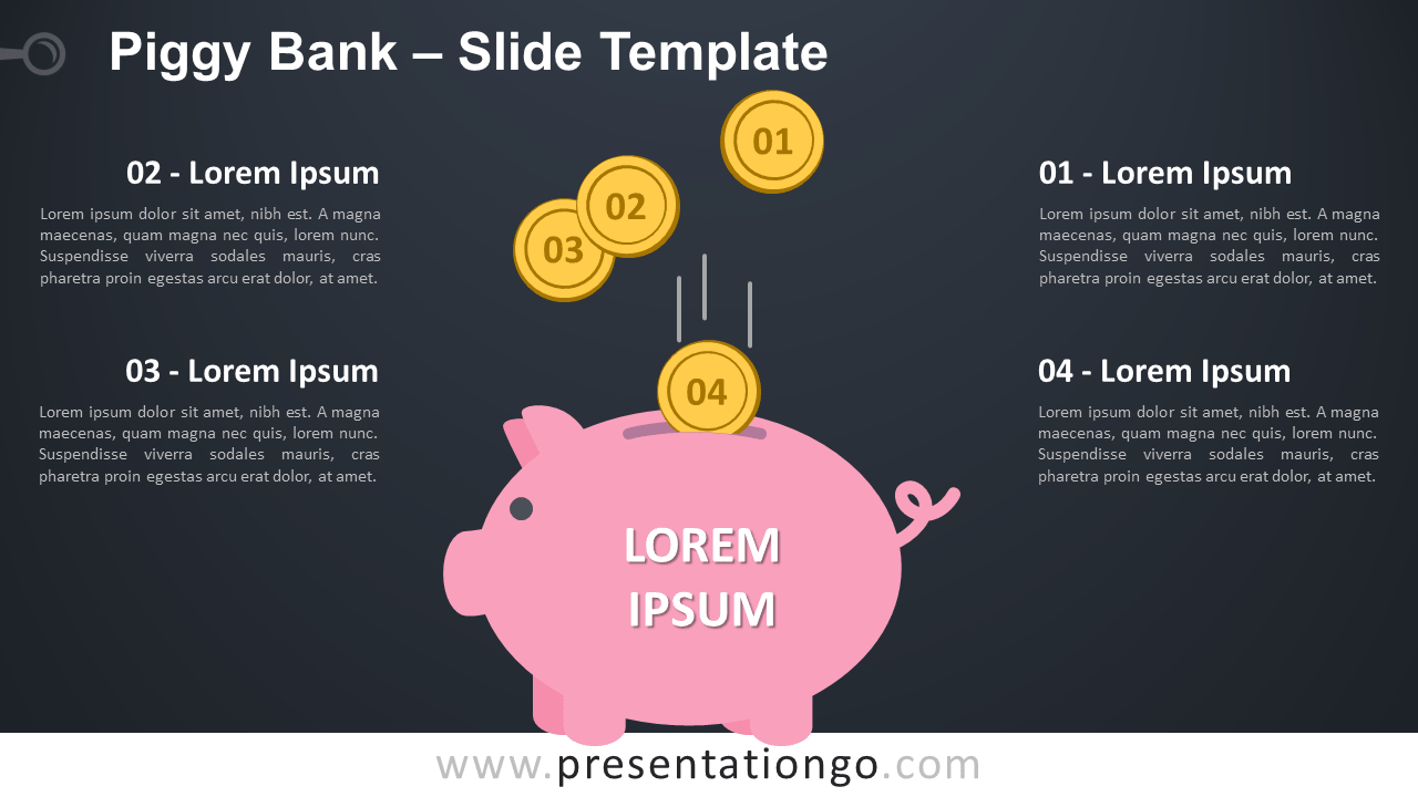 Free Piggy Bank Infographic for PowerPoint and Google Slides
