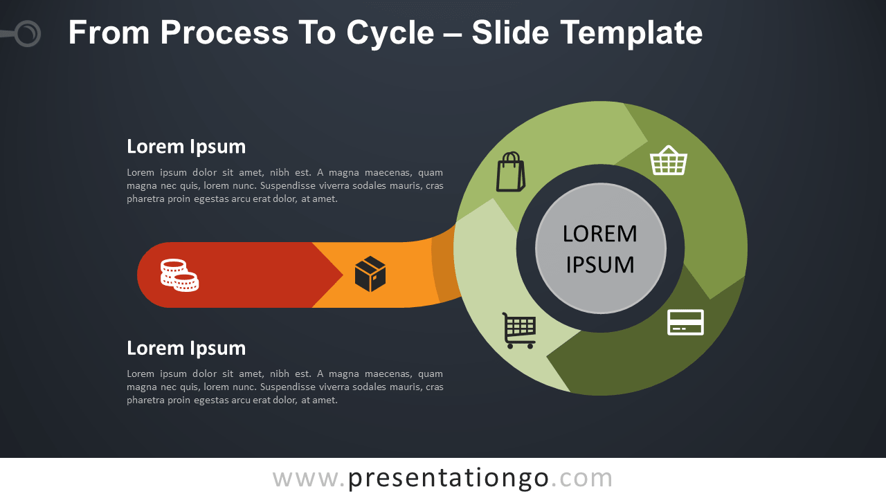 Free Process To Cycle Diagram for PowerPoint and Google Slides