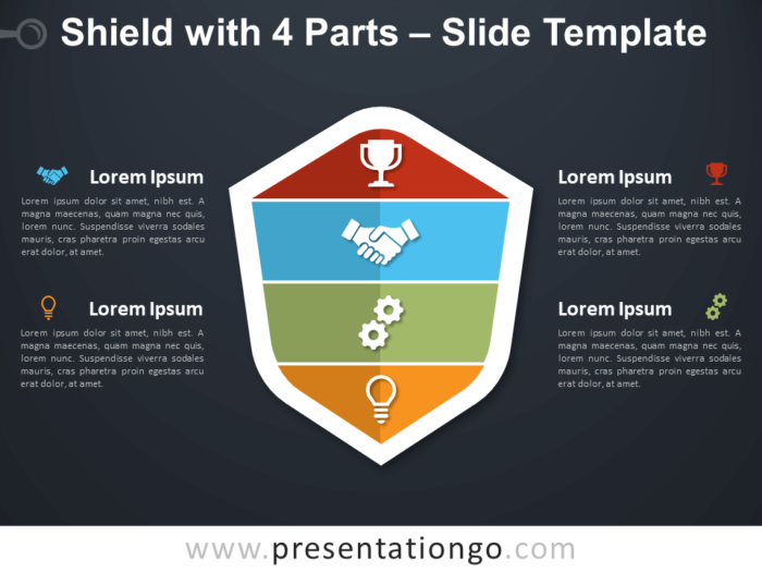Free Shield with 4 Parts Infographic for PowerPoint