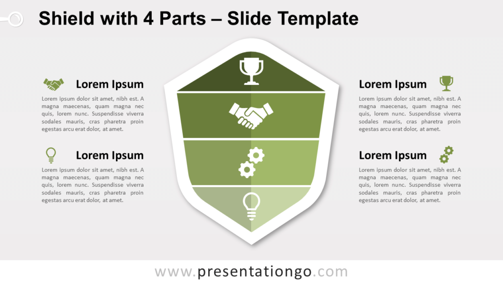 Free Shield with 4 Parts Infographic for PowerPoint and Google Slides
