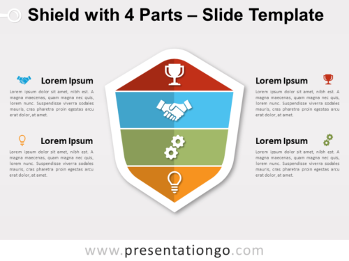 Free Shield with 4 Parts for PowerPoint