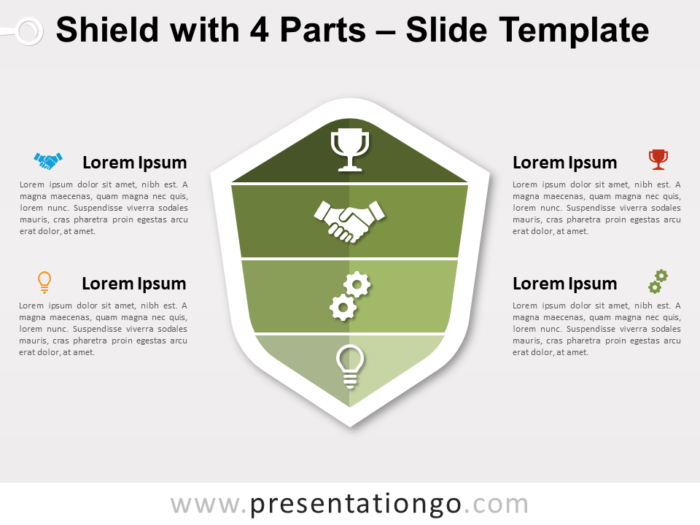 Free Shield with 4 Parts for PowerPoint Slide