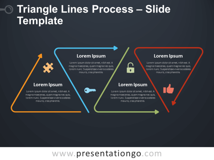 Free Triangle Lines Process Infographic for PowerPoint