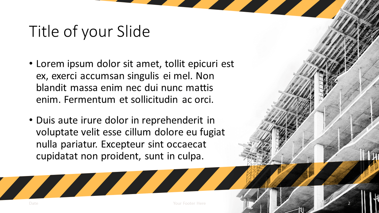 Free Construction Template for Google Slides - Title and Content (variant 1)