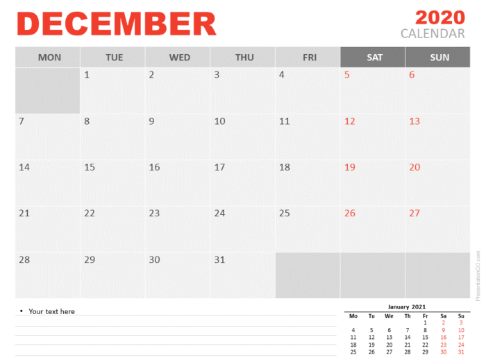 Free Calendar 2020 December for PowerPoint