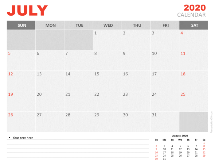 Free Calendar 2020 July Planning for PowerPoint