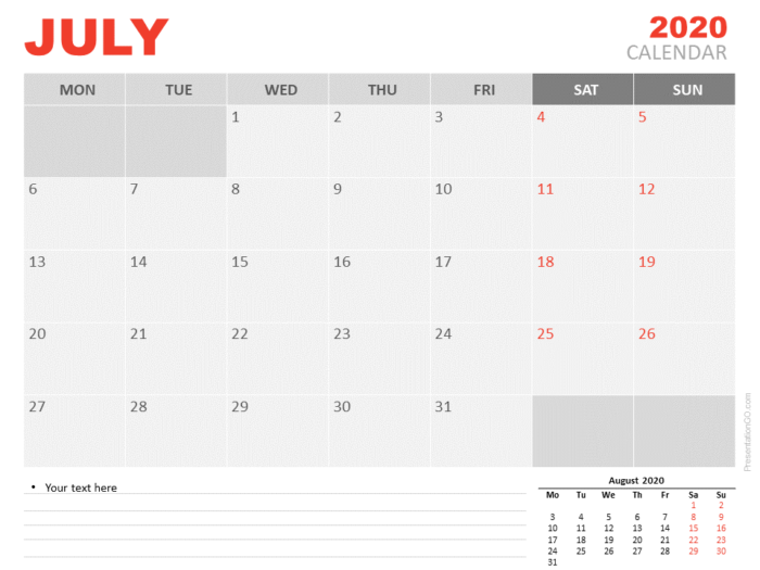 Free Calendar 2020 July for PowerPoint