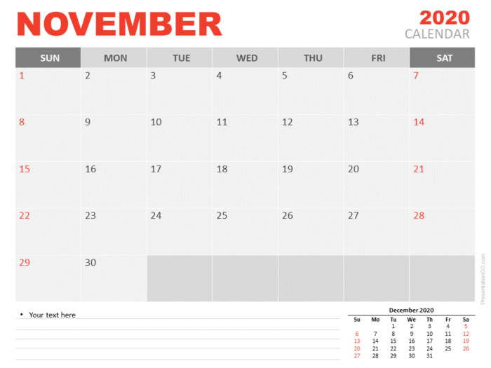 Free Calendar 2020 November Planning for PowerPoint