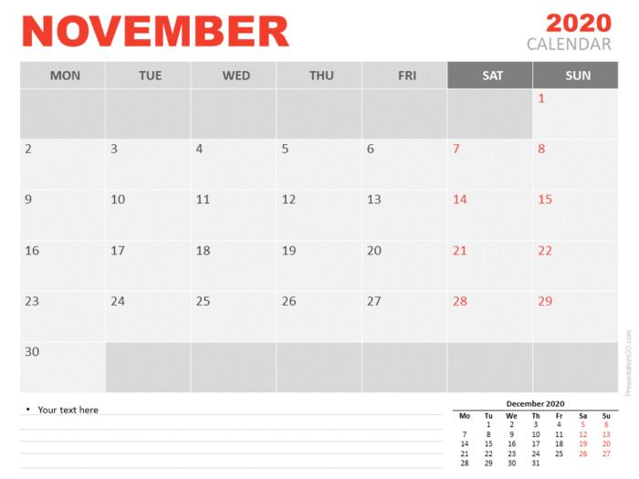 Free Calendar 2020 November for PowerPoint