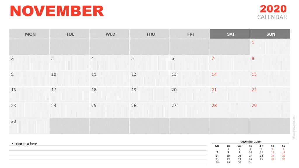 Free Calendar 2020 November for PowerPoint and Google Slides