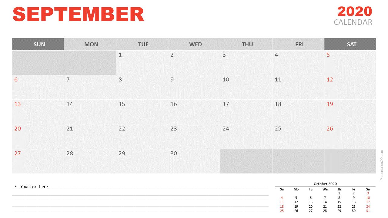 Free Calendar 2020 September Planning for PowerPoint and Google Slides