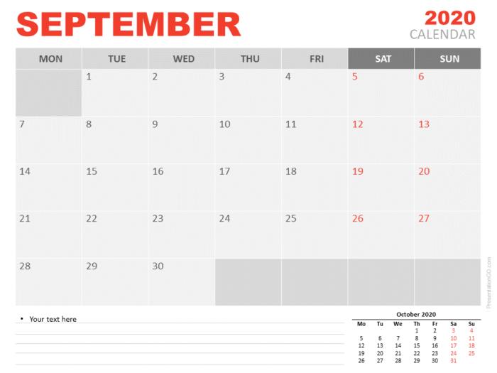 Free Calendar 2020 September for PowerPoint