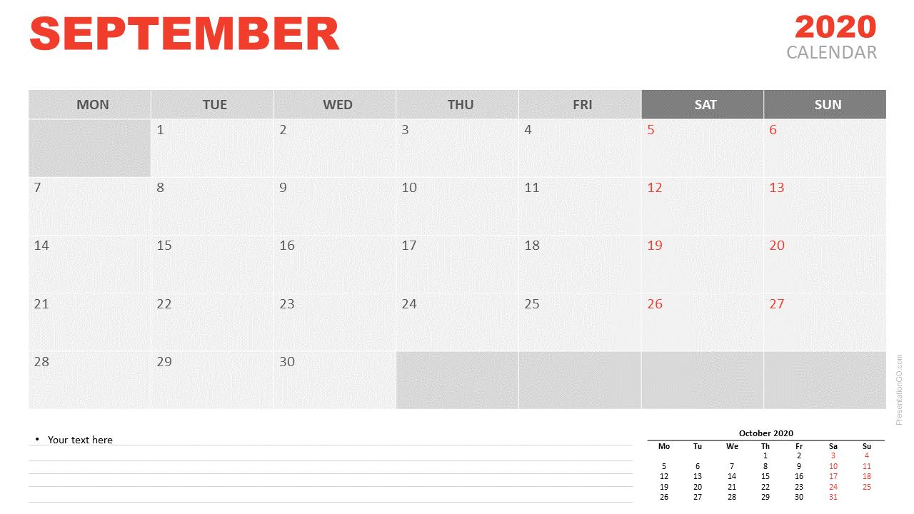 Free Calendar 2020 September for PowerPoint and Google Slides