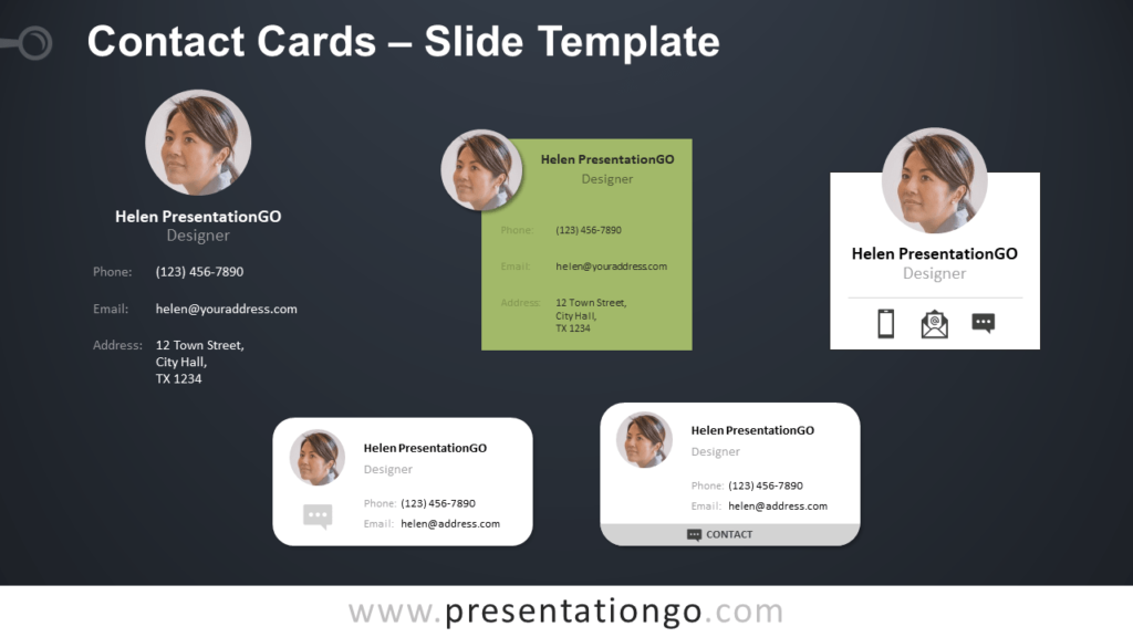 Free Contact Cards Template for PowerPoint and Google Slides