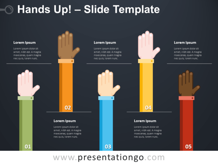 Free Hands Up Infographics for PowerPoint