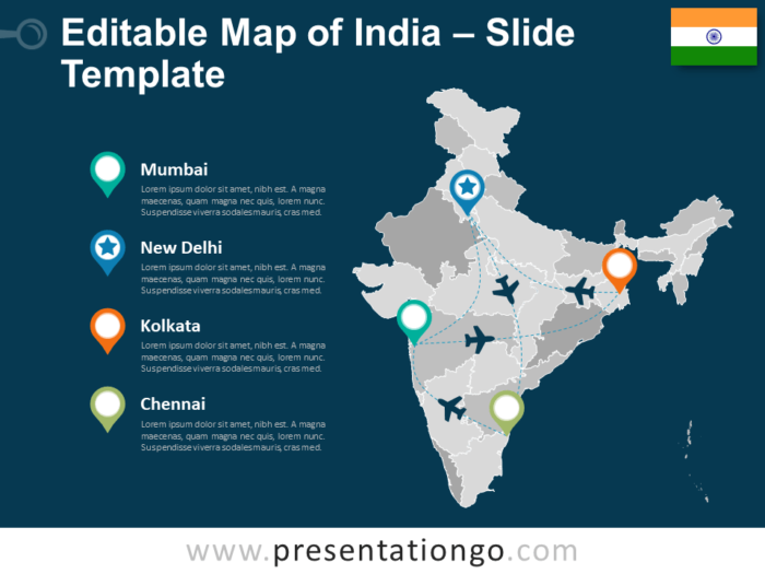 Map of India for PowerPoint