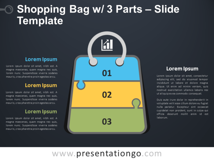 Free Shopping Bag with 3 Parts Infographic for PowerPoint