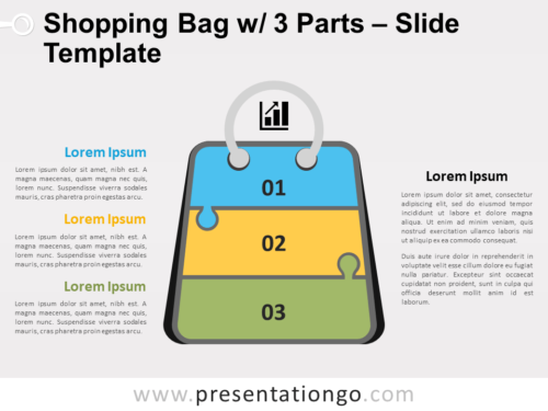 Free Shopping Bag with 3 Parts for PowerPoint