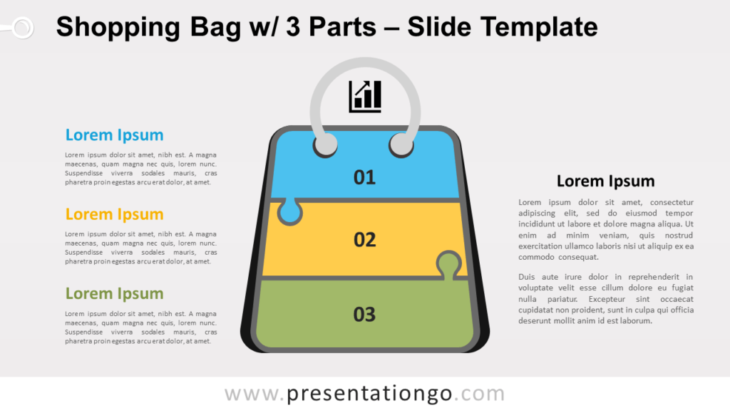 Free Shopping Bag with 3 Parts for PowerPoint and Google Slides