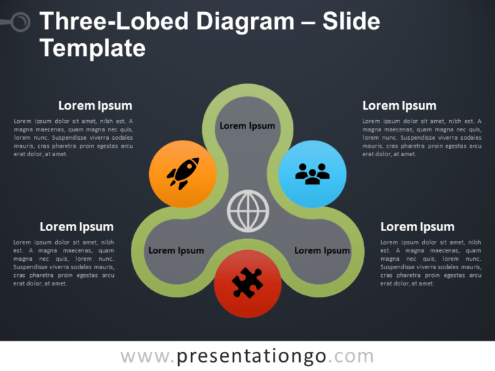 Free Three-Lobed Diagram Infographic for PowerPoint