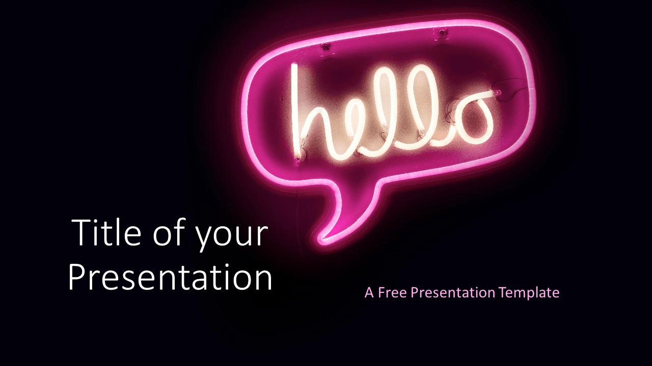 Free NEON SIGNS Template for Google Slides - Cover Slide