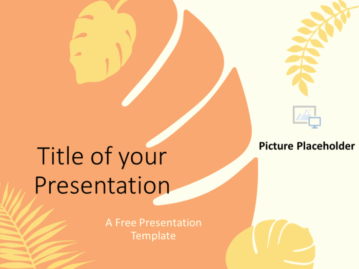 Free PASTEL LEAVES Template for Google Slides - Cover Slide