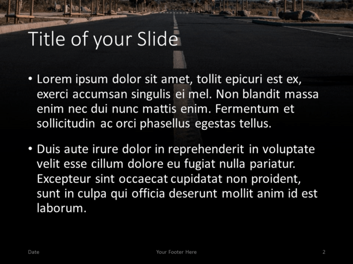 Free DARK ROADS Template for PowerPoint – Title and Content Slide (Variant 1)