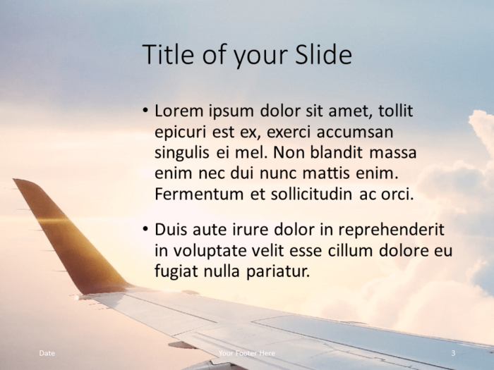 Free Airplane Window Views Template for PowerPoint – Title and Content (Variant 2)