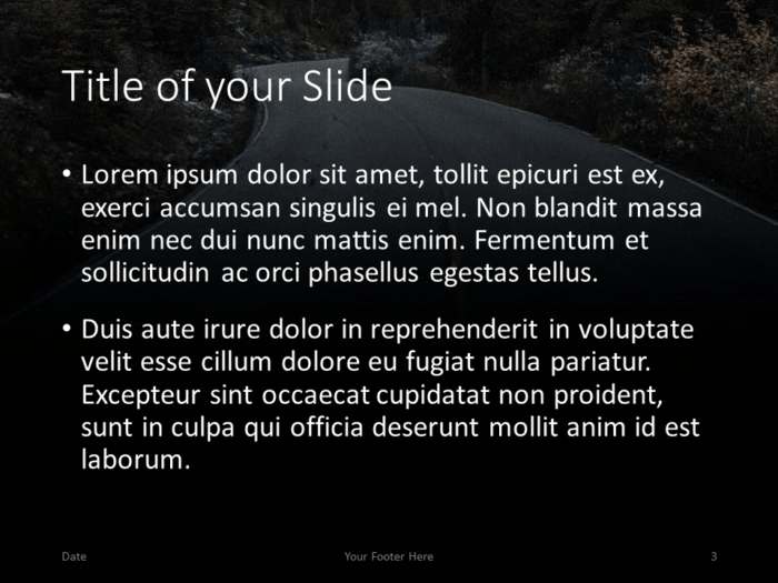 Free DARK ROADS Template for PowerPoint – Title and Content (Variant 2)