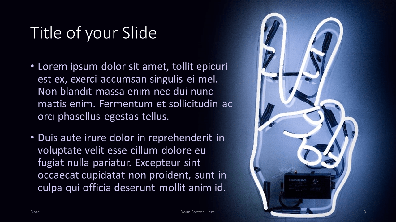 Free NEON SIGNS Template for Google Slides – Title and Content Slide (Variant 2)