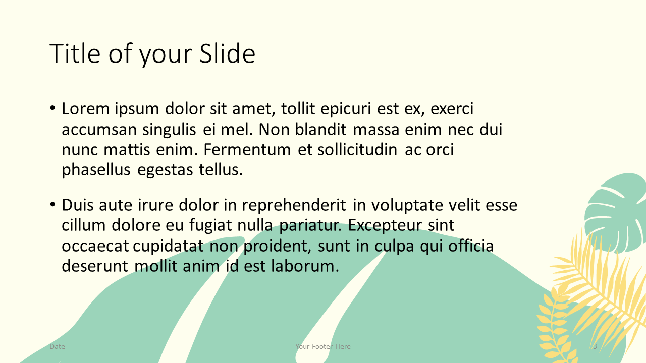 Free PASTEL LEAVES Template for Google Slides – Title and Content Slide (Variant 2)