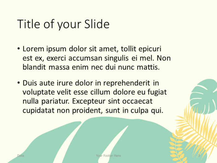 Free PASTEL LEAVES Template for PowerPoint – Title and Content (Variant 2)