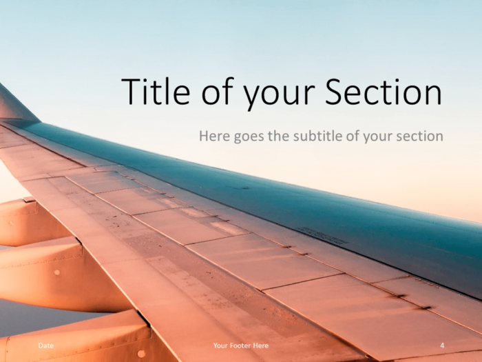 Free Airplane Window Views Template for PowerPoint – Section Slide (Variant 1)
