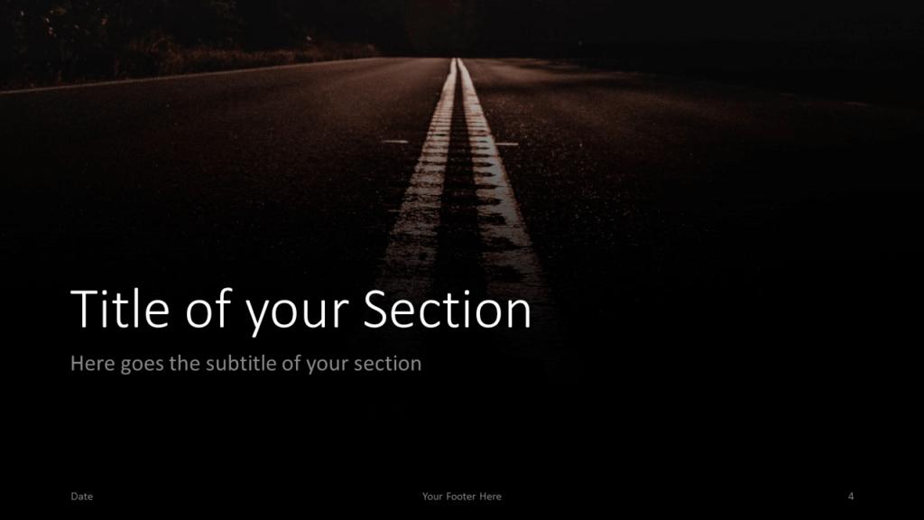 Free DARK ROADS Template for Google Slides – Section Slide (Variant 1)