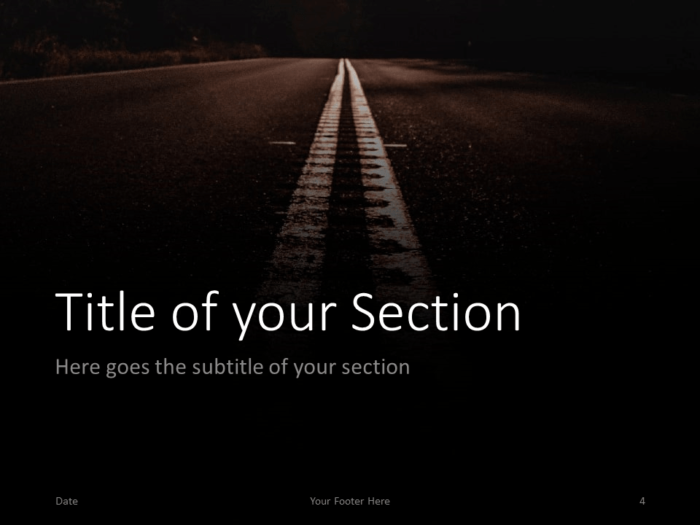 Free DARK ROADS Template for PowerPoint – Section Slide (Variant 1)