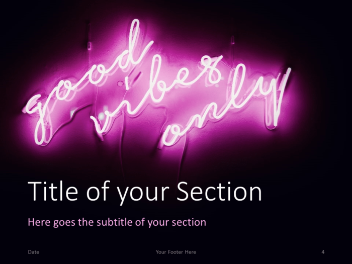 Free NEON SIGNS NEON SIGNS Template for PowerPoint – Section Slide #1