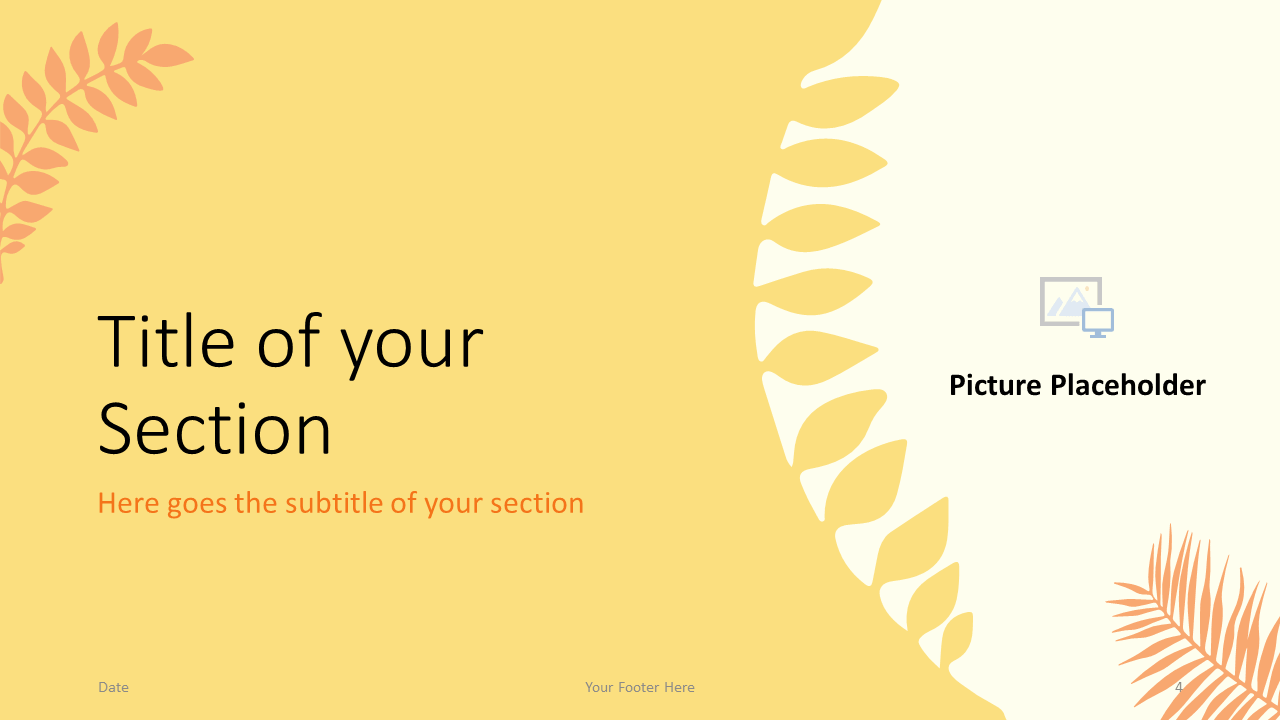 Free PASTEL LEAVES Template for Google Slides – Section Slide (Variant 1)