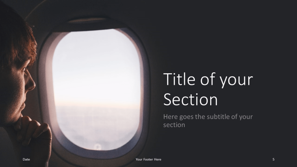 Free Airplane Window Views Template for Google Slides – Section Slide (Variant 2)