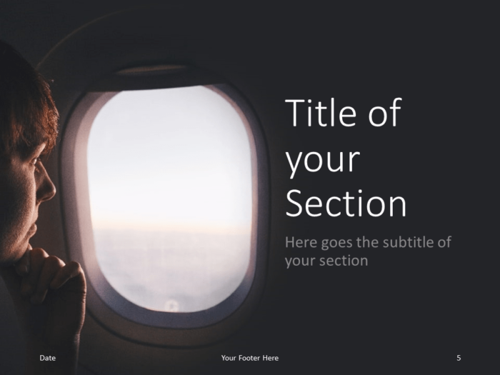 Free Airplane Window Views Template for PowerPoint – Section Slide (Variant 2)