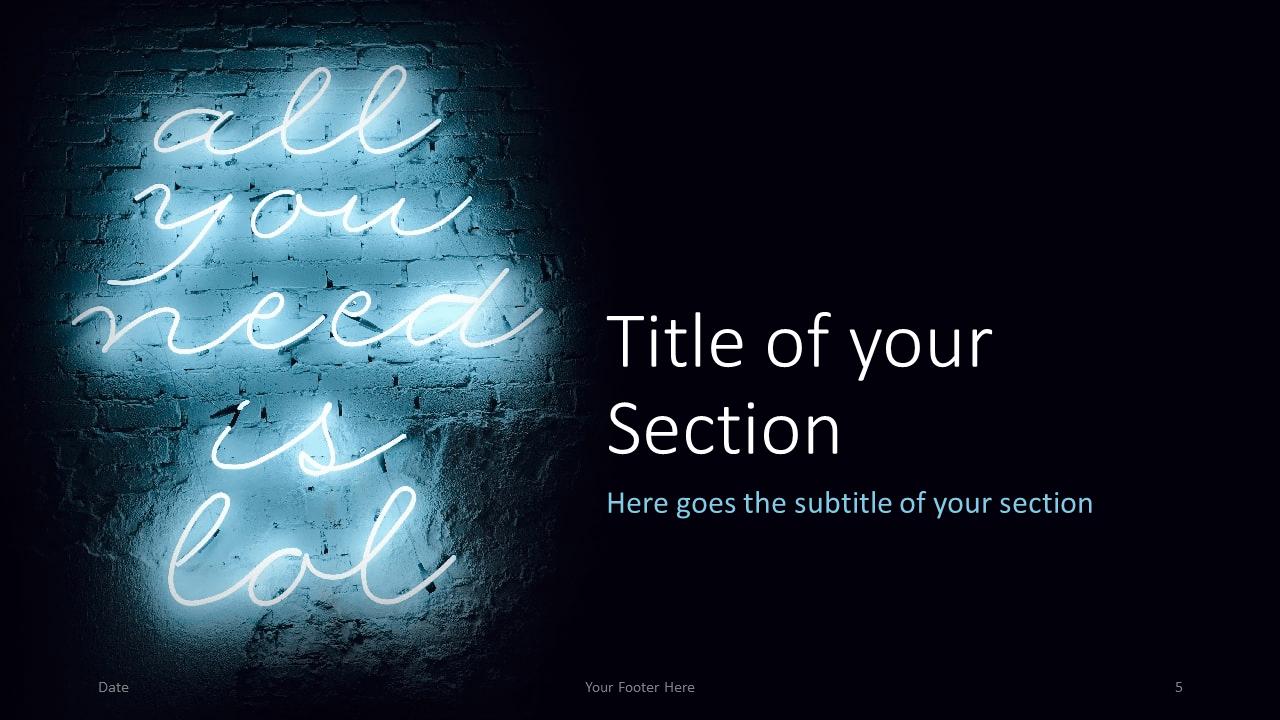 Free NEON SIGNS Template for Google Slides – Section Slide (Variant 2)