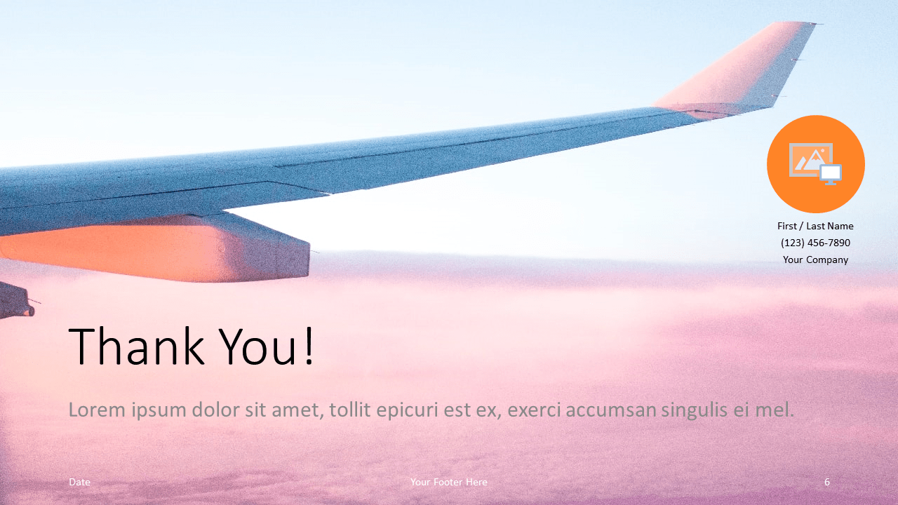 Free Airplane Window Views Template for Google Slides - Closing / Thank you