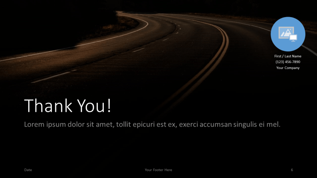 Free DARK ROADS Template for Google Slides - Closing / Thank you