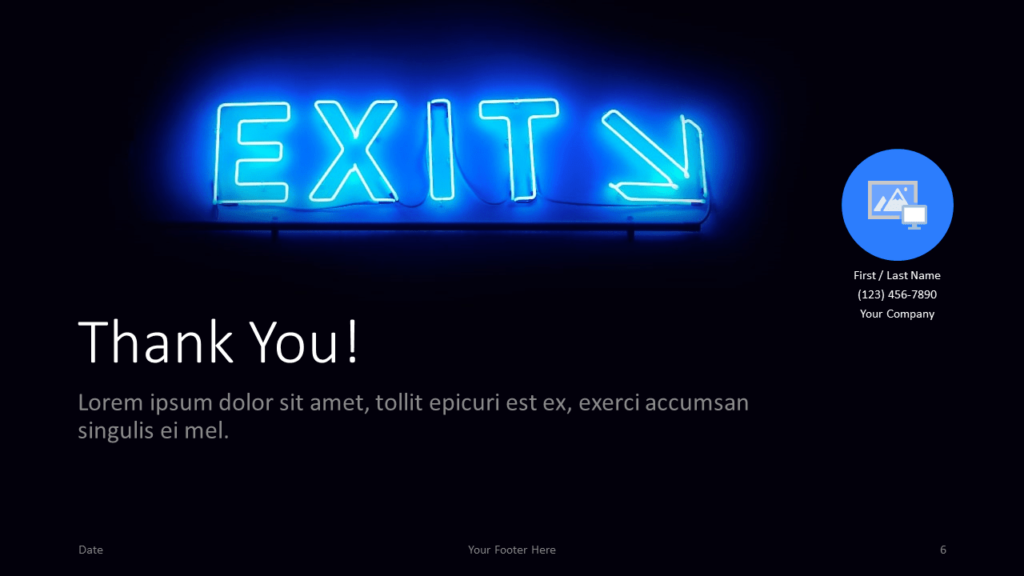 Free NEON SIGNS Template for Google Slides - Closing / Thank you