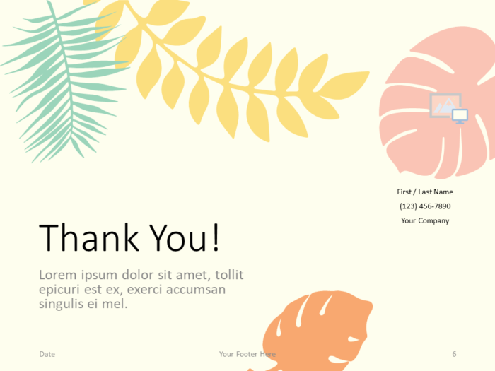 Free PASTEL LEAVES Template for PowerPoint - Closing / Thank you