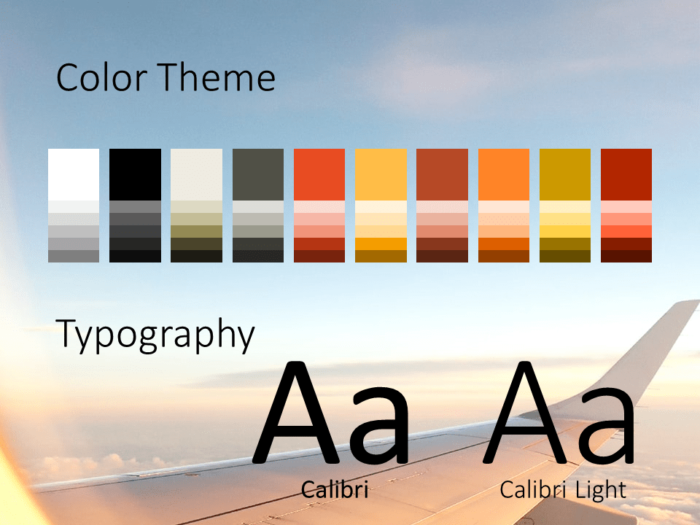 Free Airplane Window Views Template for PowerPoint – Colors and Fonts