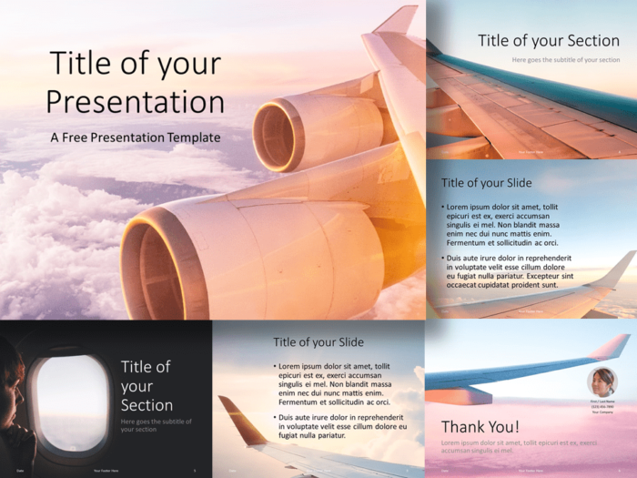 Free Airplane Window Views Template for PowerPoint and Google Slides